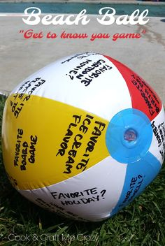 Get to know you Beach Ball Game! Perfect for birthdays family reunion and churc - Beach Ball - Ideas of Beach Ball - Get to know you Beach Ball Game! Perfect for birthdays family reunion and church activities of any kind! Family Reunion Activities, Church Activities, Family Reunions, Youth Activities, Youth Team Building Activities, Kids Beach Activities, Educational Activities, Games For Kids Classroom, Building Games For Kids
