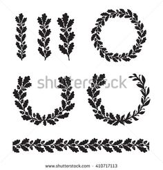 Silhouette oak wreaths in different shapes half circle circle branch and seamless border Branch drawing Drawing borders Circle borders