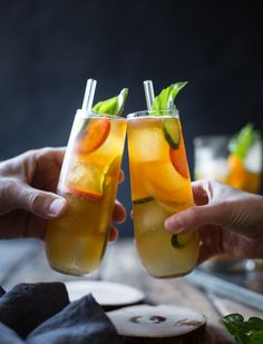 Basil Plum Pimm's Cups by thebojongourmet #Cocktail #Pimms_Cup