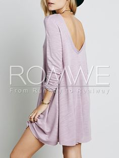 Purple Long Sleeve Backless Dress 16.99