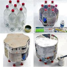 Табурет из пластикоаых бутылок 's creative, specially the caps which turned to the base. ~ Puf de botellas pep y cartapesta Plastic Bottle Crafts, Recycle Plastic Bottles, Recycled Bottles, Recycled Crafts, Plastik Recycling, Fun Crafts, Diy And Crafts, Cardboard Furniture, Pet Bottle