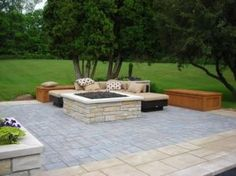 Beautiful Fire Pit: Beautiful Paver Patios With Fire Pit Fire Pit Stone Paver Patio  Designs With