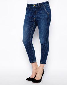 French Connection Evie Slim Boyfriend Jeans in Polka Dot Denim