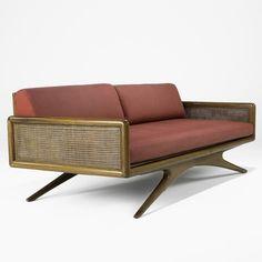 Vladimir Kagan; Walnut, Cane and Canvas Sofa for Kagan-Dreyfuss Inc., 1950s.