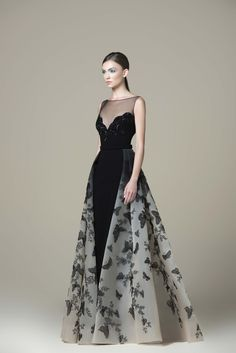 Saiid Kobeisy - Embroidered Illusion Bateau A-line Gown Evening Dresses, Prom Dresses, A Line Gown, Mode Style, Dress Up, Gown Dress, Dress Card, Beautiful Gowns, Dream Dress