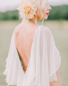 Silk Chiffon Flutter Sleeve Gown | Photo by Rachel May Photography | Read more - http://www.100layercake.com/blog/?p=78392