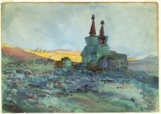 Andrey Avinoff - Tibet: Monastery in the Mountains, 1912, graphite and watercolor on paper; Carnegie Museum of Art