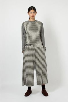 Flax Stripe Wide Leg Trouser