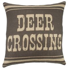 TheWatsonShop Deer Crossing Burlap Throw Pillow