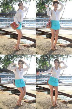 Catwalk Show: Linda loura e japonesa. Um verão em azul turquesa. Day look In Brazil.