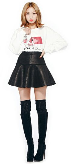 THe High Waist Magic:  Break at Camp Tee(2 Colors), Mustang Flare Skirt, Over Knee Socks, Knee High Boots | Fall & Winter | Dolly & Molly | www.dollymolly.com | #dollymolly #camp #white #black #monotone #chic #koreagirls #gold #blond #hair #sudden #instafashion #model #posing