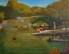 New York landscape The Pond  Central Park painting  by kochartist