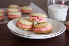 vanilla bean sandwich cookies with maraschino buttercream frosting - Girl Versus Dough
