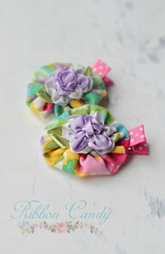 Sweet fabric yoyo flower hair clips purple by CandyShoppeCuties, $7.95