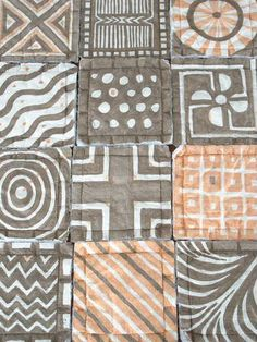 Mud Cloth by Judy D Handmade tiles can be colour coordianated and customized re. shape, texture, pattern, etc. by ceramic design studios