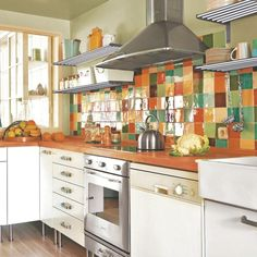 colourful tiles on neutral kitchen