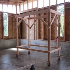 Home Improvement Projects, Home Projects, Wooden Scaffolding, Paint Your House, Kitchen Lighting Fixtures, Living Room Windows, Tiny House Design, Prefab, Concrete Floors