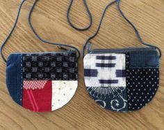 Japanese Boro One Handled Bag, Sashiko Bag, Quilted bag, Sashiko Handbag, Purse, Kasuri, Aizome, Japanese Indigo によく似た商品を Etsy で探す
