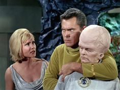 """From left: Susan Oliver as Vina, Jeffrey Hunter as Captain Christopher Pike and Meg Wyllie as The Keeper in """"The Cage."""" //// collectables are amongst the items available on """"SciFiTastic"""" Star Trek 1966, Star Trek Tv, Star Wars, Star Trek Original Series, Star Trek Series, Akira, Susan Oliver, Jeffrey Hunter, Star Trek Merchandise"""