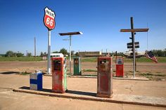 """Route 66 Gas Pumps, Adrian, Texas. """"The Fine Art Photography of Frank Romeo."""""""