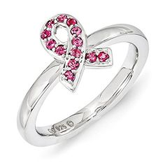 Sterling Silver Stackable Expressions Swarovski Crystal Breast Cancer Awareness Pink Ribbon Ring Review