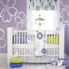 crib bedding, color, wall decals, girl nurseries, babi girl, baby girls, bedding sets, green flowers, baby cribs