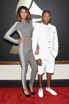 Pin for Later: Seht alle Stars bei den Grammys! Pharrell Williams und Helen Lasichanh