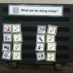 "Visual Schedules help all children, including those with special needs, understand their world better.  Visual schedules can enhance understanding of what's going to happen, clarify expectations, transition from one activity to the next, and to assist in behavior management.  This visual schedule was created with BoardMaker Software.  Small icons were printed, cut out, laminated (for more durability), and velcroed to a small board on a stand.  My clients LOVE to be the ""check helper"" as they…"
