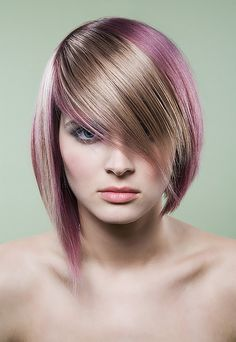 Great cut and color. Blonde and purple/pink.