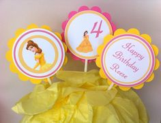 Beauty and the Beast favor tags by BerrySweetParties on Etsy