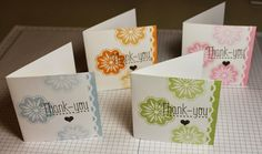 Set of 3x3 Thank You Note Cards Stamps: Baroque Motifs, Another Thank You Ink: Bashful Blue, Certainly Celery, Peach Parfait, Pretty in Pink, Early Espresso Cardstock: Whisper White Accessories: Scallop Trim Punch