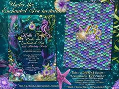 Mermaid Mermaid Invitations Mermaid Party Under the by BellaLuElla