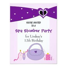 Purple Ribbon Spa Birthday Party Invitation