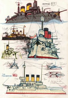 Ships and Destroyers by Lapo Roccella on ArtStation. Miyazaki, Fantasy Landscape, Fantasy Art, Steampunk Ship, Dazzle Camouflage, Military Armor, Naval History, Mechanical Design, Armada