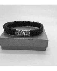 8da4e8241be7 Bracelet en cuir tressé et acier Bracelets En Cuir Tressés