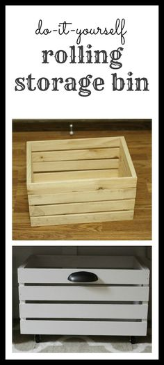 DIY Rolling Storage Bin - I Can Teach My Child! - - Transform a wooden crate by adding some paint, rolling casters, and hardware to create a DIY Rolling Storage Bin! Diy Organizer, Kitchen Organization, Kitchen Storage, Storage Organization, Organizing Ideas, Storage Jars, Food Storage, Underbed Storage Ideas, Shoe Storage Bins