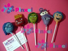 Cake pops Pixar Disney Inside Out Movie Characters, Joy, Sadness, Anger, Fear & Disgust