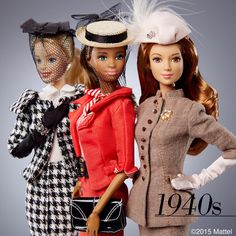Revisiting our favorite decades of style! It's amazing what you can find when cleaning out your closet. What do you think our 1940s looks? #barbie #barbiestyle