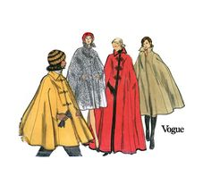 1970s Cape Cloak Pattern Vogue 8416 Misses Formal Evening Cloak or Day Length Cape Bust 38 - 40 Womens Vintage Sewing Pattern. $22.00, via Etsy.
