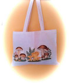 KMoriginal / Taška - Hríbiky Textiles, Decoupage, Reusable Tote Bags, Fabrics, Textile Art