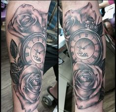 Black and grey shade pocket watch tattoo. Realistic black and grey roses tattoo. Forearm tattoo.