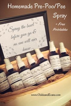 """Now you can say your poop truly doesn't stink...homemade """"before you go"""" bathroom spray. I call it Pre-Poo/Pee. Plus free printable labels and photo sign."""