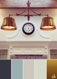 a kitchen-inspired color palette // gray, blue, white, brass // kitchen design by Kim Johanson