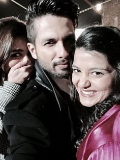 Alia Bhatt, Shahid Kapoor and Shahid's baby sister Sanah on the sets of Shaandaar. #Bollywood #Fashion #Style #Beauty #Handsome