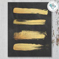 Gold Strokes on Chalkboard Printable Wall Art