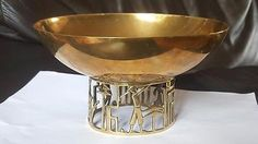 1930's BRASS HAGENAUER BRASS FRUIT BOWL GOLD RELIEF BASE STEM