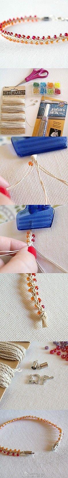 手工DIY 步骤 手链 创意 简单漂亮的手链,学习一下吧