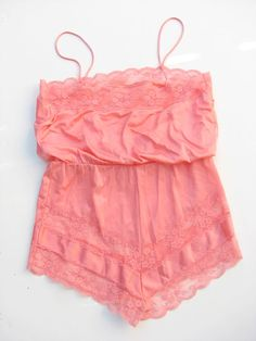 Vintage Dianne Keesee Coral Lace Lingerie Romper by ZouZouArmoire, $14.00