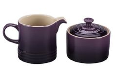 LE CREUSET Cream and Sugar Set Cassis $46.95 TOTAL!...LOWEST PRICE GUARANTEE PICK UP OR CULINART MARKET WILL SHIP TOTALLY FREE... CULINART MARKET www.shopculinart.com