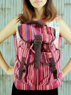 Pink ikat abstract tribal native design backpack /Ethnic rucksack /School Bag /holiday bag /Hippie bag / Boho/ Folk / Gypsy / tapestry bag